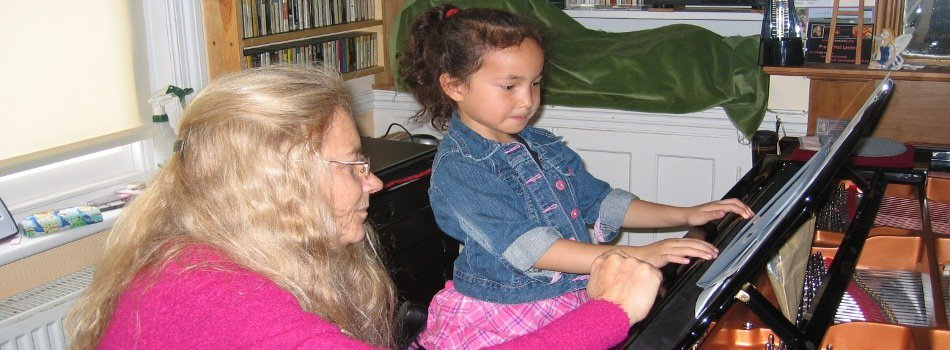 Child playing piano