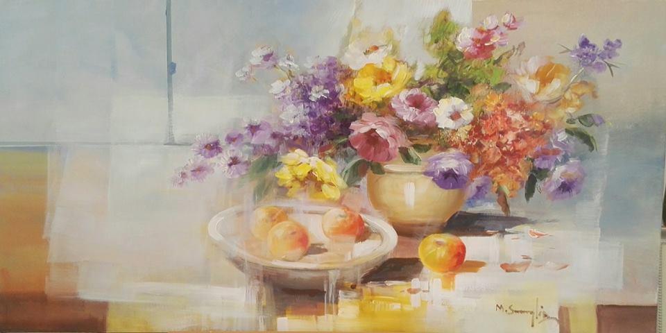 un dipinto di un vaso di fiori