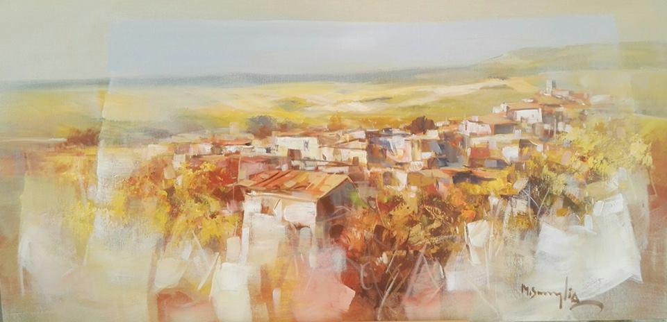 un dipinto di una cittadina
