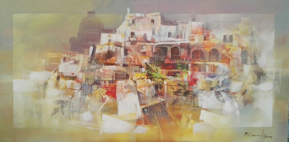 un dipinto di una cittadina cin sfumature