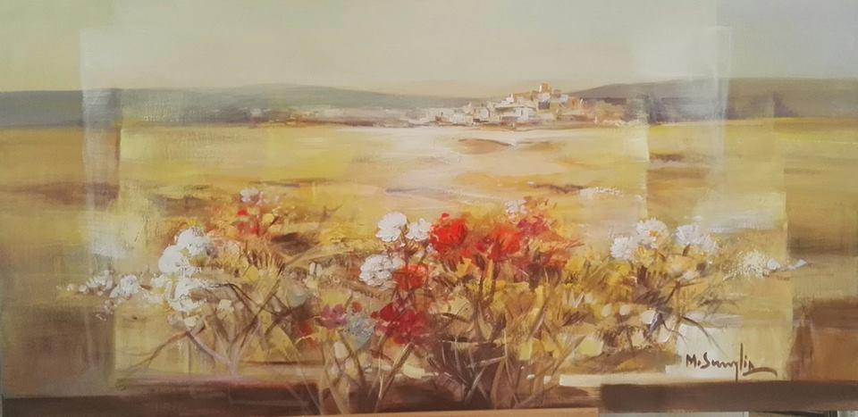 un dipinto di fiori bianchi e rossi me in lontananza vista della citta' e del mare