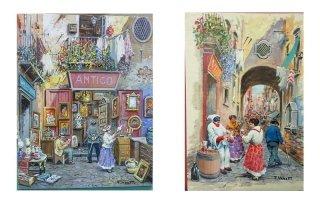due dipinti raffiguranti dei vicoli cittadini con delle persone