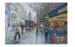 un dipinto raffigurante delle persone che passeggiano in citta'