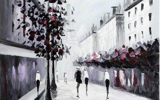un dipinto in bianco e nero con delle persone che camminano in  una strada di città' con degli alberi a bacche rosse