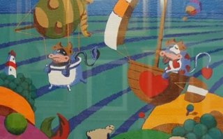 un dipinto di tanti colori raffigurante degli animali fumettosi