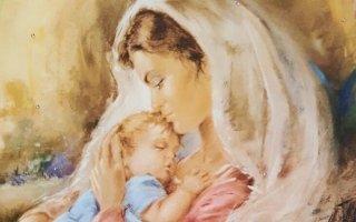 un dipinto della Madonna che baia un bambino sulla fronte
