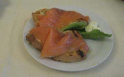 Fresh salmon on toast