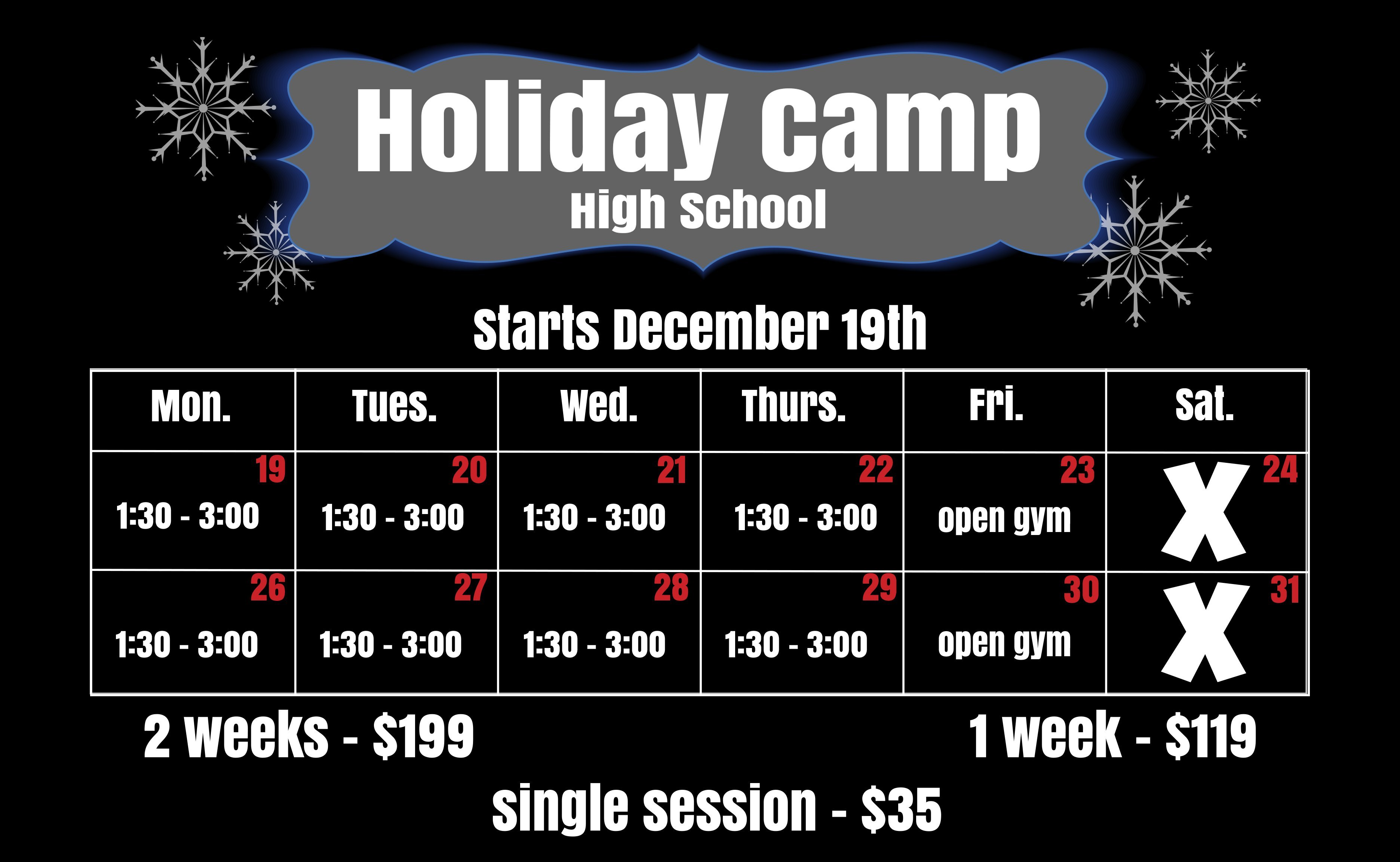 Holiday Training for high school athletes