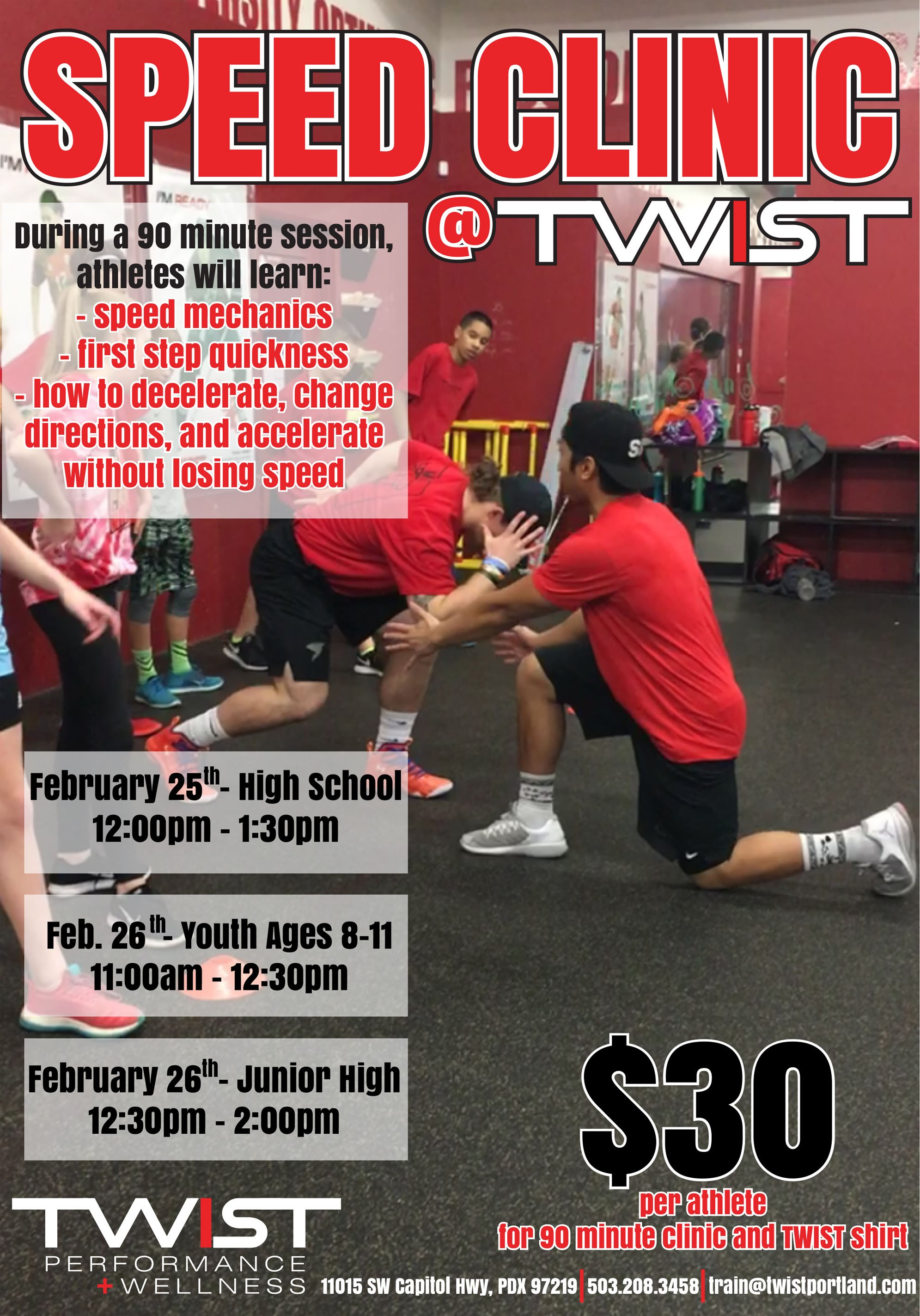 February Speed Clinic Flyer