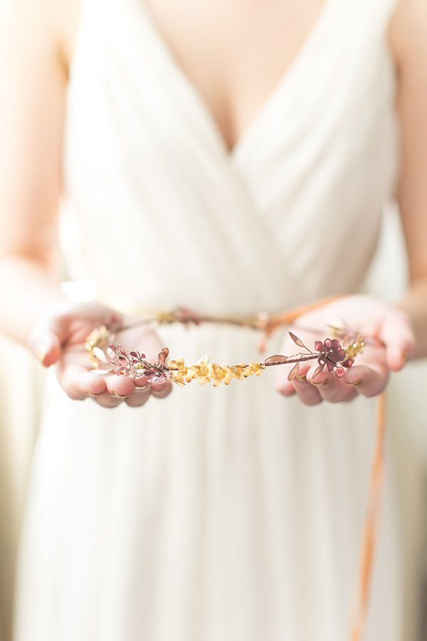 Odette Gold Orchid Bridal Crown