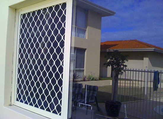 whilte diamond grille security screen on window