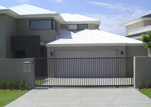 automatic garage gate in front of modern home