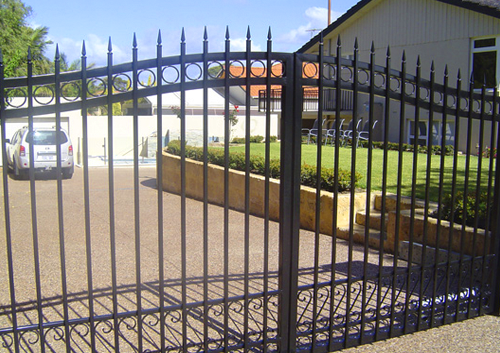 black steel fence and gate