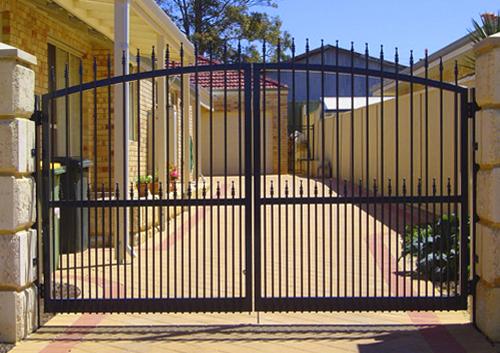 black hinged gate
