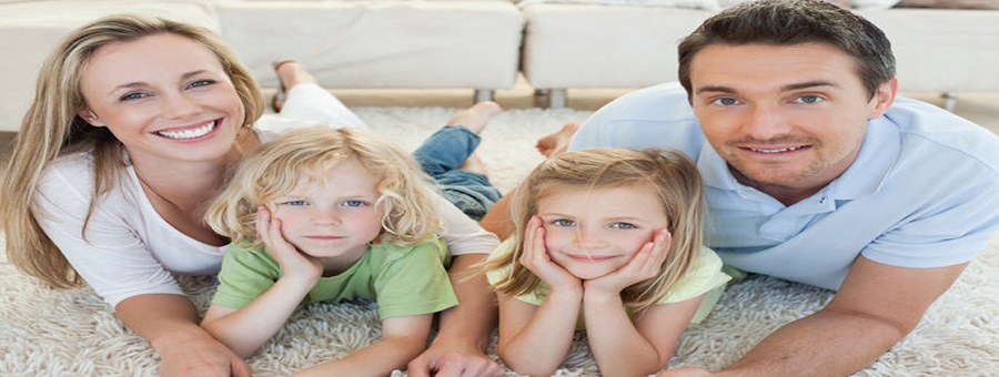 Happy family after expert carpet cleaning services in Cincinnati, OH