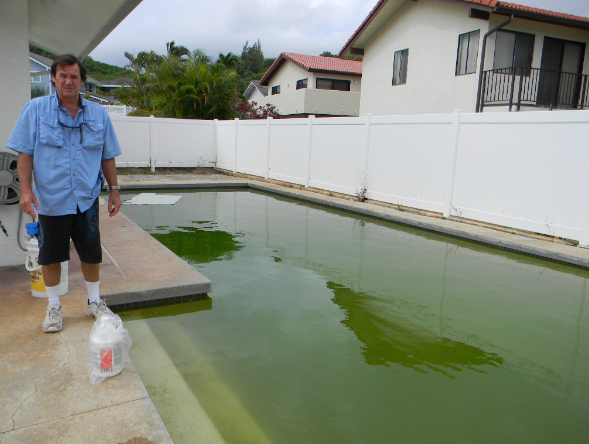 Before professional pool cleaning and maintenance by Pool Service of the pacific Windward in Kailua, HI