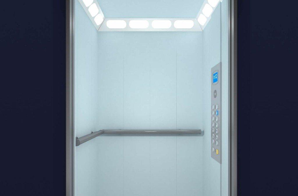 interno ascensore bianco