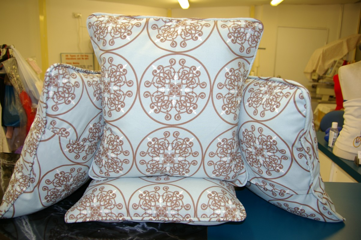 Cushion covers stitched at the shop