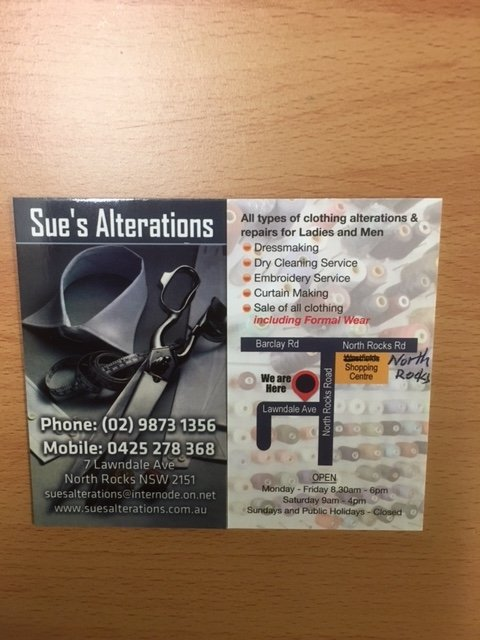 Sue alterations leaflets