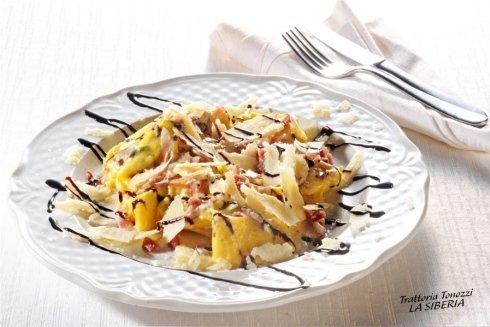tagliatelle pancetta parmigiano e glassa