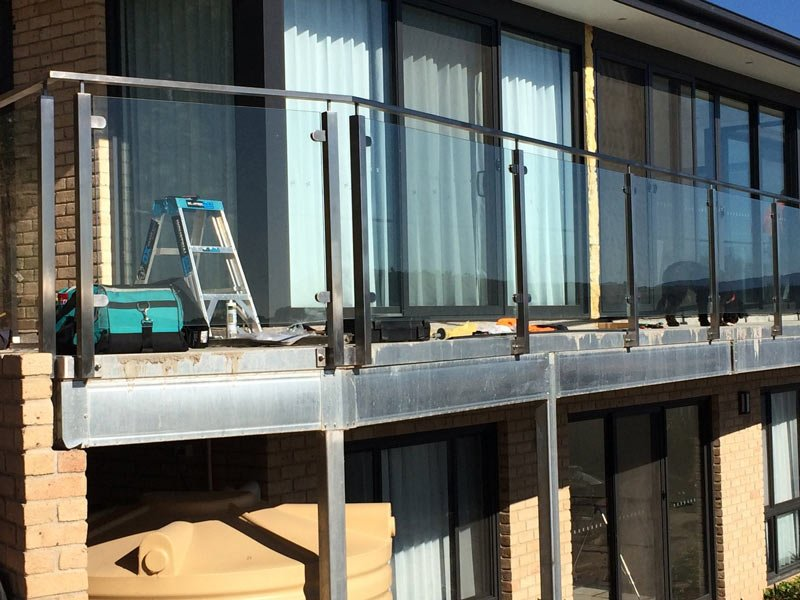 metal and glass balcony