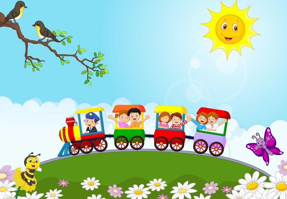 un disegno di un treno