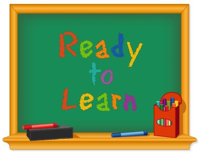 Una lavagna con la scritta Ready to learn