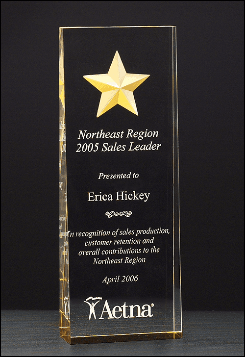 Laser Engraved Acrylic Award with Gold Mirror Reflection