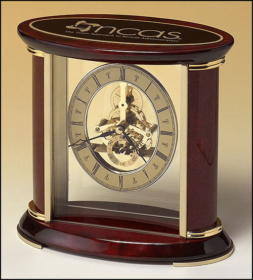 Skeleton Clock with Brass Finish Movement and Black Brass Tag Engraved