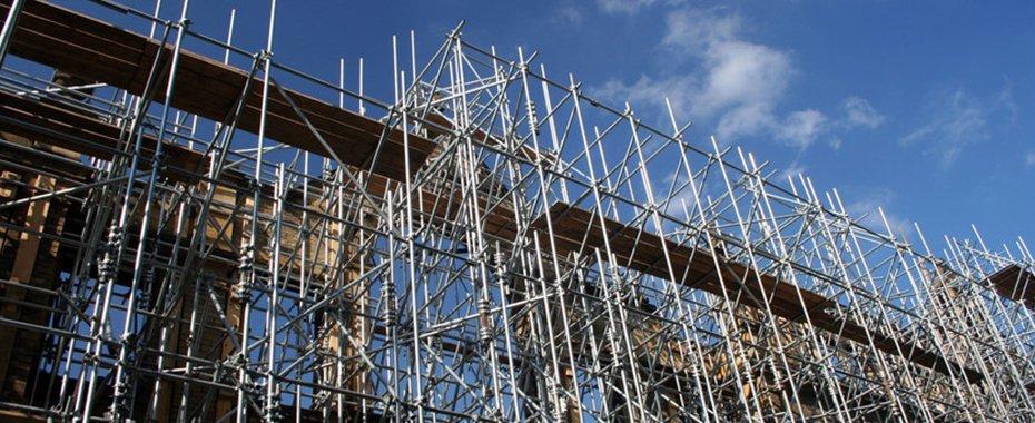 A huge scaffolding rig