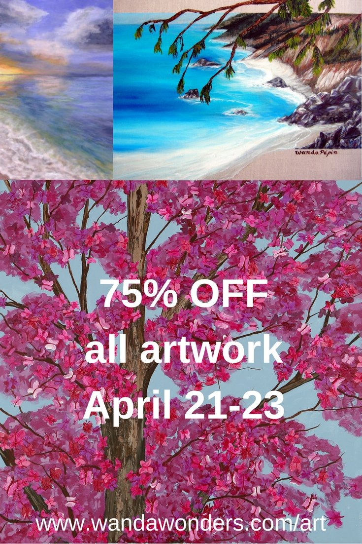 75% off sale for original paintings by Wanda Pepin