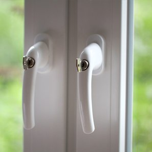 uPVC door handles with keys in them