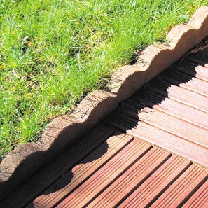 Decking next to a lawn