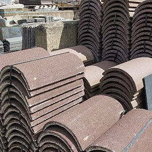 Roofing tiles stacked up