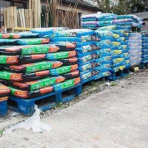 Pallets of garden soil