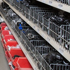 Shelves of electrical equipment