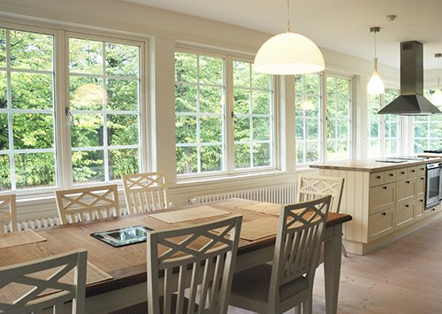 custom double-hung and wooden casement windows in a kitchen in Abilene, TX