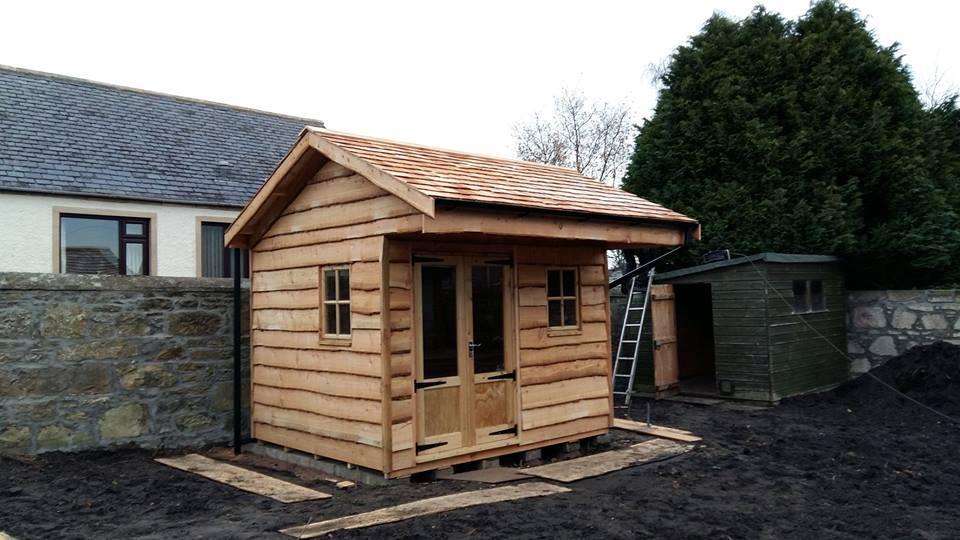 garden shed with overhanging roof