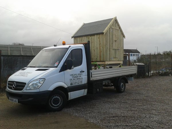 our van delivering a completed shed