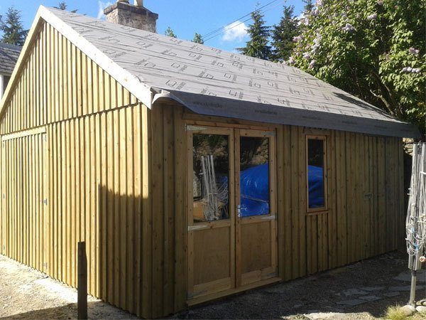 double door wooden shed