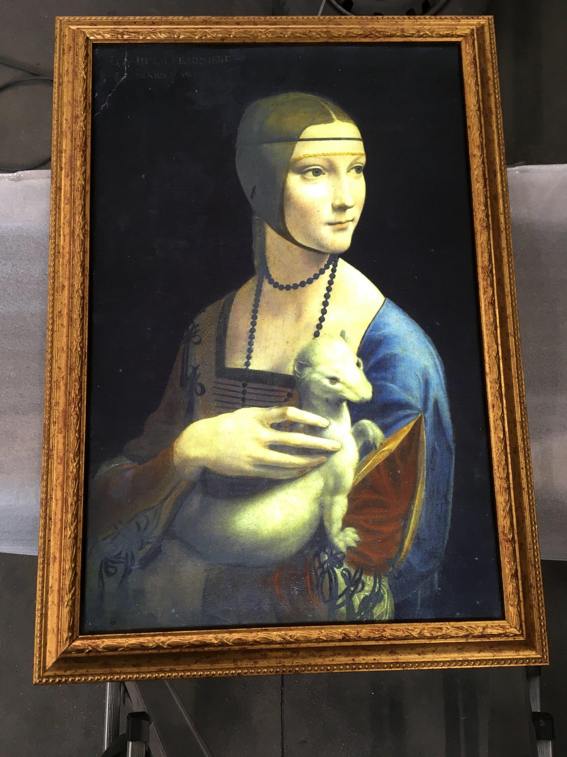 quadro luminoso di dama con l'ermellino