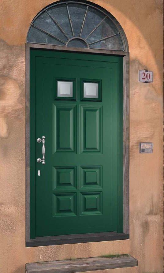 porta ingresso con pannello alluminio bugnato