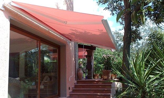 tenda modello scrigno in tessuto acrilico rosa