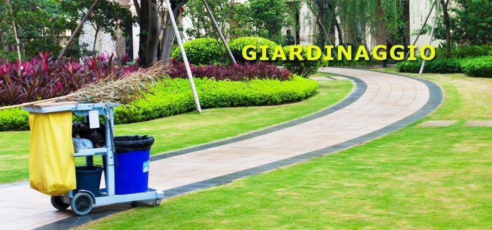 pulizia di un giardino con viottolo