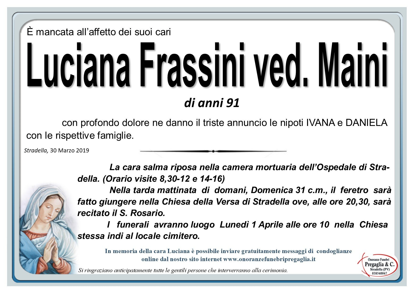 83dda9e387 Necrologi   Stradella   Onoranze Funebri Pregaglia & C.