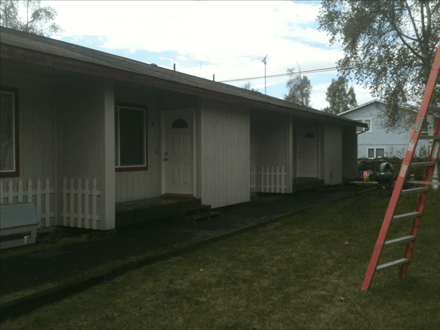 Picture of exterior paint prior to working with A & G Painting for a much needed upgrade in Anchorage, AK