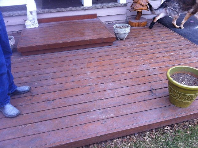 Picture of deck prior to proper staining and treatment by A & G Painting in Anchorage, AK
