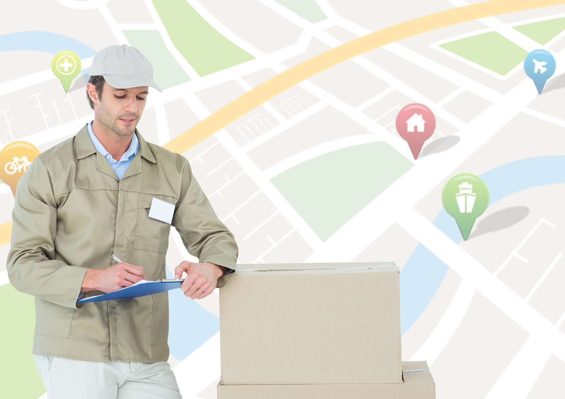 operaio che porta dei pacchi con una mappa di sfondo