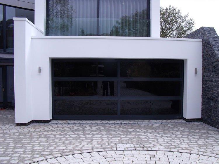 Contemporary black garage doros