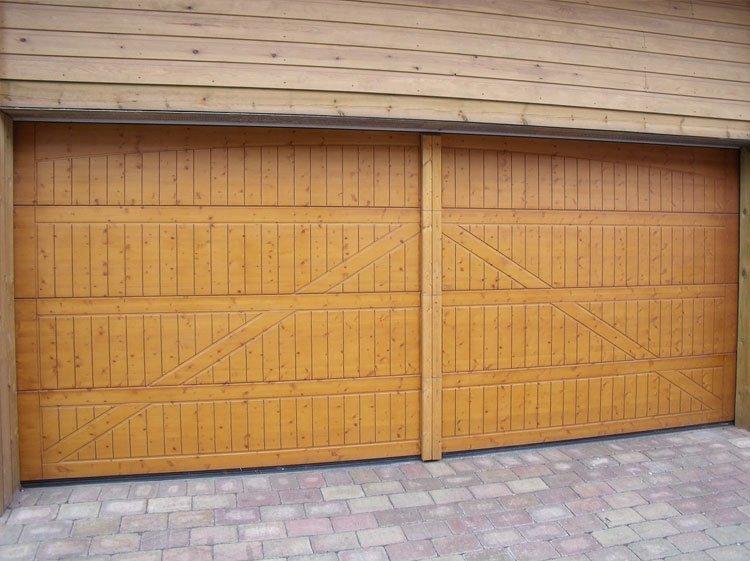 Rustic wooden garage door